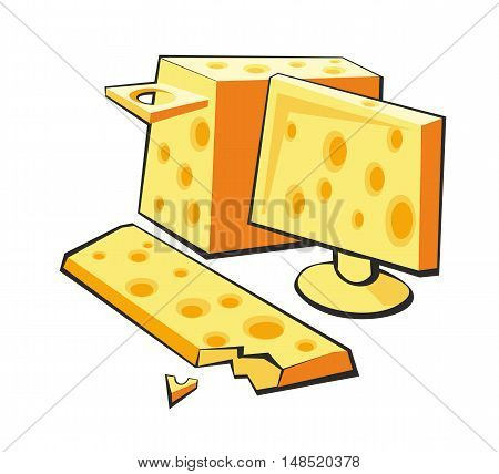 Computer is made of cheese. Flat vector illustration on white background.