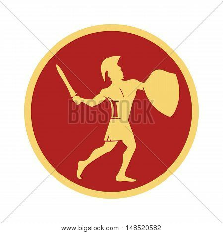 Spartan warrior in the traditional helmet on his head with sword and shield . Illustration For Emblem Logo icon in vintage style.