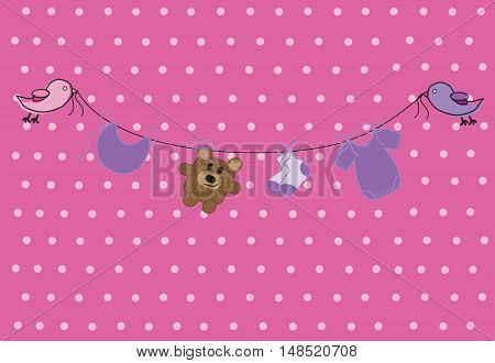 Pink Purple Baby Clothes Line with Clothes