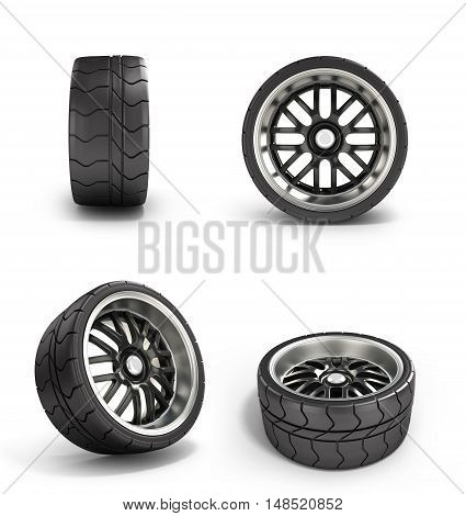 Collection Of Automotive Wheel Isolated On White 3D Illustration