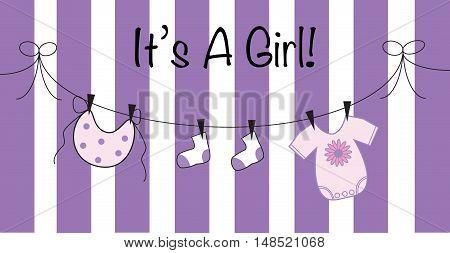 It's a Girl in Purple Baby Shower