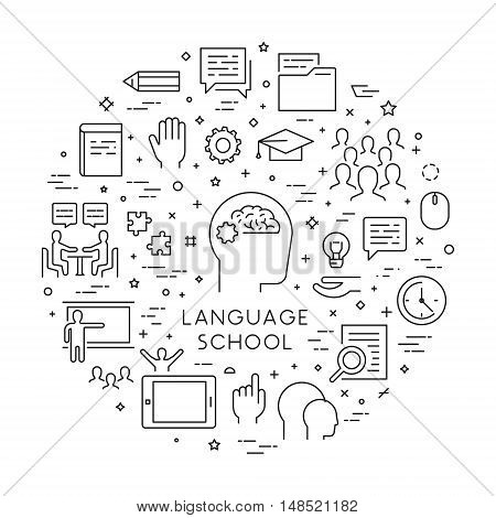 Vector line concept and banner for foreign language school. Open path.