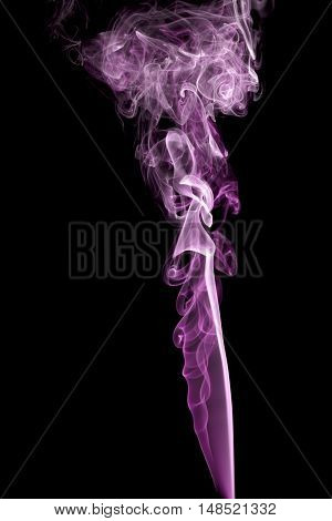 Abstract pink smoke isolated on black motion, swirl