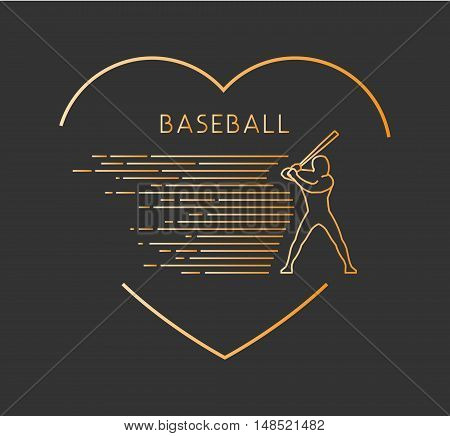 Gold line vector symbol for baseball with open path. I love baseball. Outline figure baseball player. Stylish logo baseball on white background.