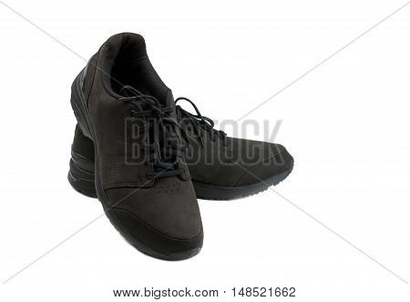 pair of black men shoes. Isolate on white background