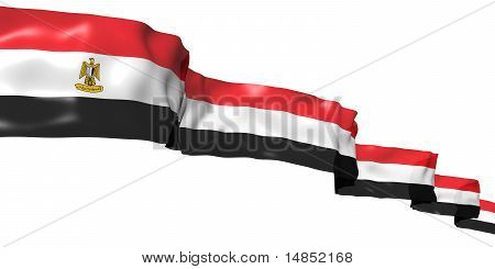 Egyptian ribbon flag isolated on white