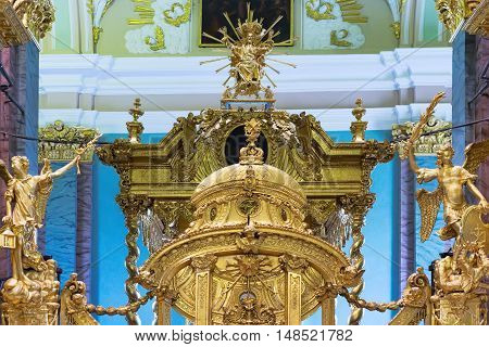 Golden church interior. St. Petersburg. Russia. christianity