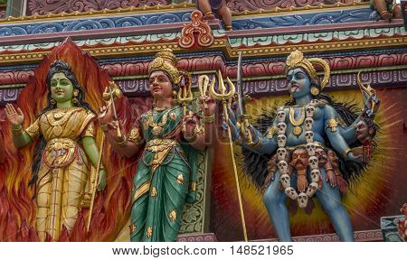 Colorful statues in a Hindu Temple, in Singapore