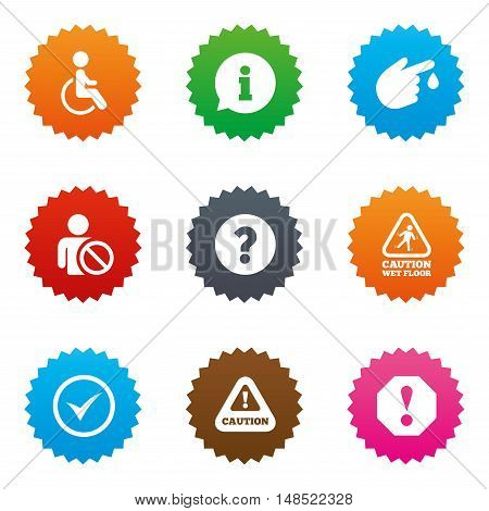 Attention notification icons. Question mark and information signs. Injury and disabled person symbols. Stars label button with flat icons. Vector