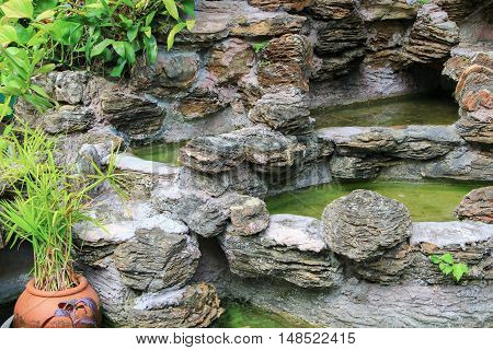 waterfall in the garden water dry Lack of care
