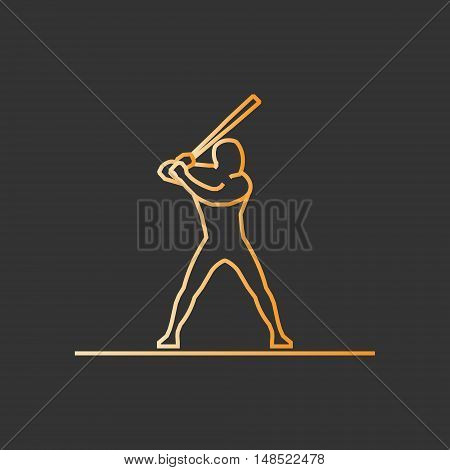 Gold line baseball icon. Vector silhouette of baseball player.