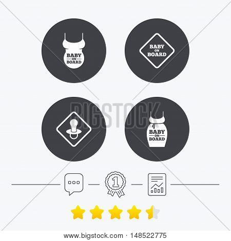Baby on board icons. Infant caution signs. Child pacifier nipple. Pregnant woman dress with big belly. Chat, award medal and report linear icons. Star vote ranking. Vector