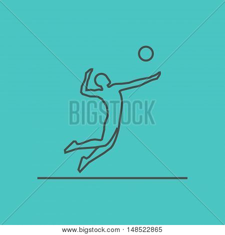 Cool line volleyball icon. Vector silhouette of volleyball player.