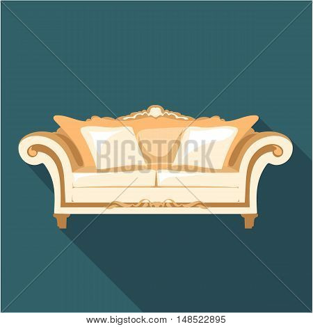 Digital vector vintage brown sofa with pillows and ornaments over dark background isolated, flat style
