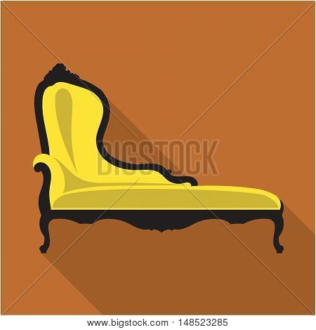 Digital vector vintage black and yellow sofa over brown background isolated, flat style