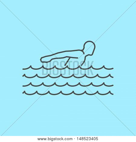 Cool line swim icon. Vector silhouette of swimmer. Modern outline swim logo.
