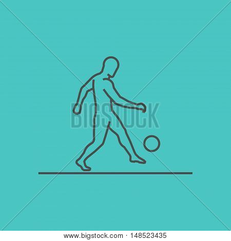 Cool line soccer icon. Vector silhouette of soccer player.