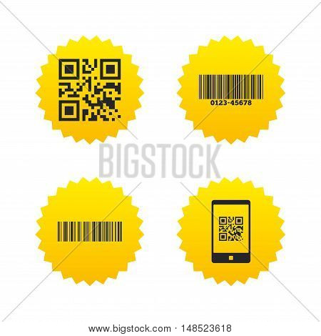 Bar and Qr code icons. Scan barcode in smartphone symbols. Yellow stars labels with flat icons. Vector