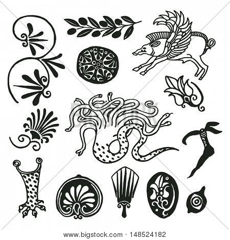 Freehand drawings. Ancient roman ornaments, decor and paintings elements studies. Mythical creatures