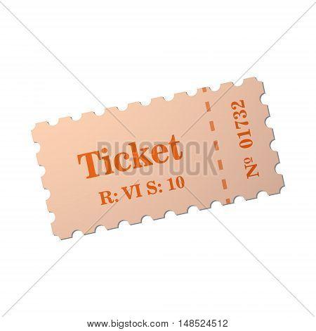 Ticket of flat style, cartoon style, vector illustration. Ticket stub isolated on a background. Retro cinema card.