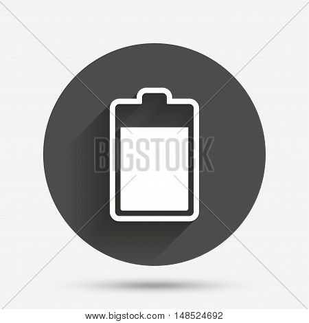 Battery level sign icon. Electricity symbol. Circle flat button with shadow. Vector