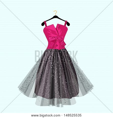 Pink and dark party dress with bow. Vector fashion illustration.