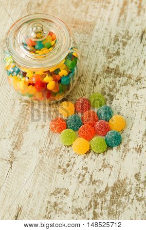 Glass bowl full of colorful jelly beans