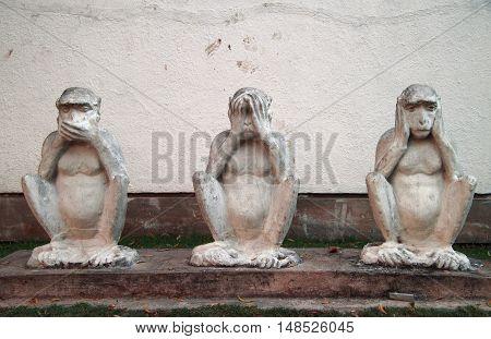 Monument 'three Wise Monkeys' In Hindu Ashram