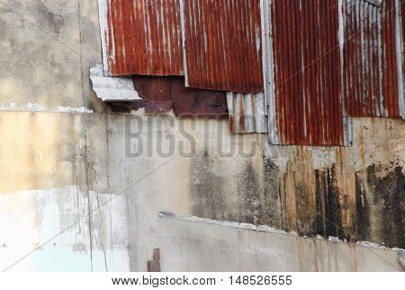 zinc wall texture pattern rusty corrugated metal Thailand ancient home for background and with copy space