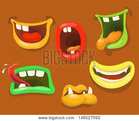 Cute monsters mouths. Monster expression funny, tongue and teeth vector