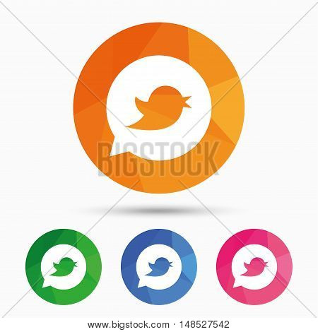 Bird icon. Social media sign. Short messages symbol. Speech bubble. Triangular low poly button with flat icon. Vector