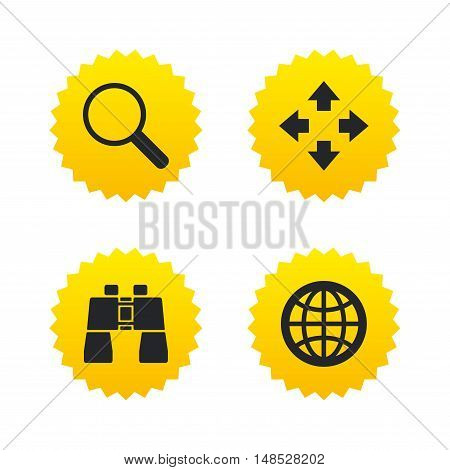 Magnifier glass and globe search icons. Fullscreen arrows and binocular search sign symbols. Yellow stars labels with flat icons. Vector