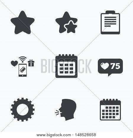 Calendar and Star favorite icons. Checklist and cogwheel gear sign symbols. Flat talking head, calendar icons. Stars, like counter icons. Vector