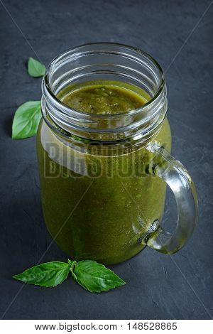 Healthy Eating, Green Smoothie With Basil