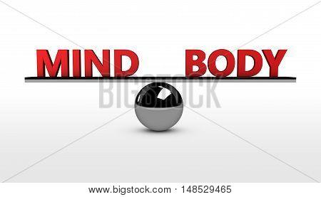 Mind and body lifestyle balance concept 3d illustration.