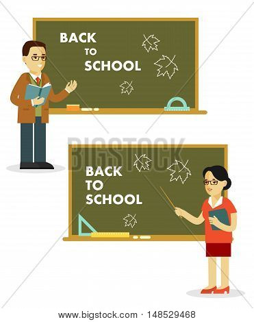 Young teacher man and woman standing in classroom in class lesson, isolated on white background