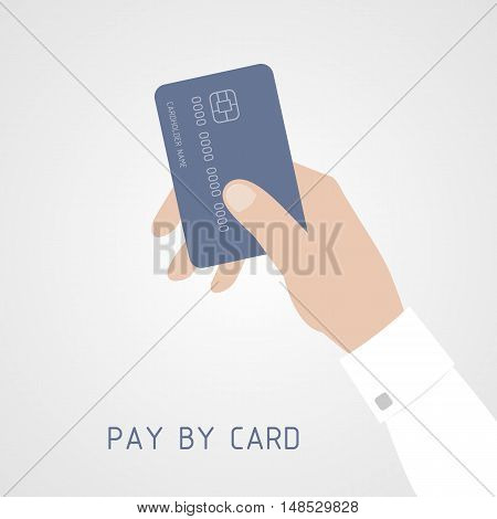 Hand holding bank card. Credit card icon flat style.