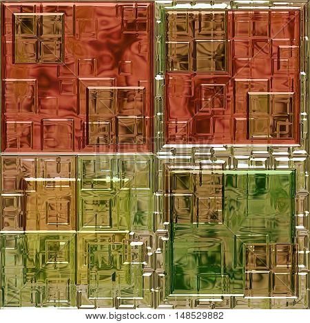 Abstract mosaic background of stained glass squares. Red, green, brown and gold 3d pattern with mosaic tiles