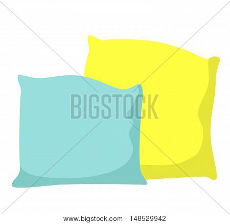 Colorful pillows isolated on white background - vector illustration. Comfortable bed pillow isolated. Vector bedding fabric pillow isolated.