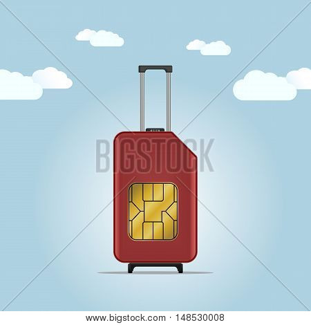Travel SIM vector illustration. Mobile roaming. Luggage.