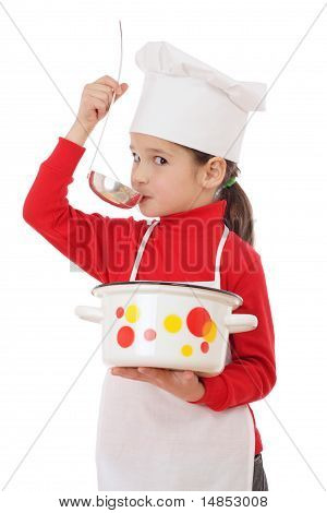Little chief-cooker gustation with ladle