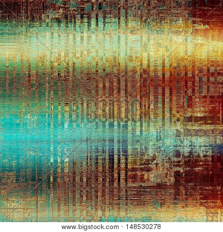Antique texture, weathered background with vintage look and different color patterns: yellow (beige); brown; green; blue; red (orange); cyan