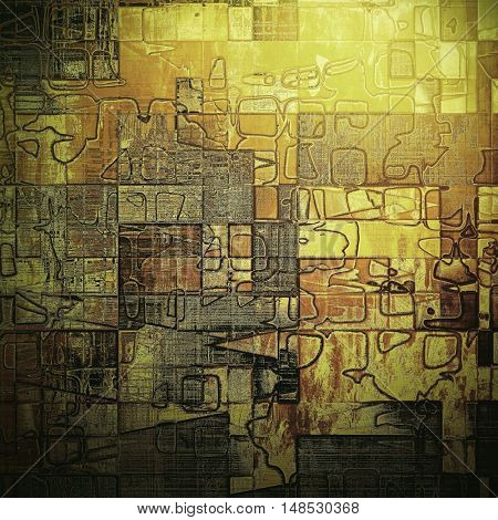 Geometric grunge texture or background with retro design elements and different color patterns: yellow (beige); brown; gray; black