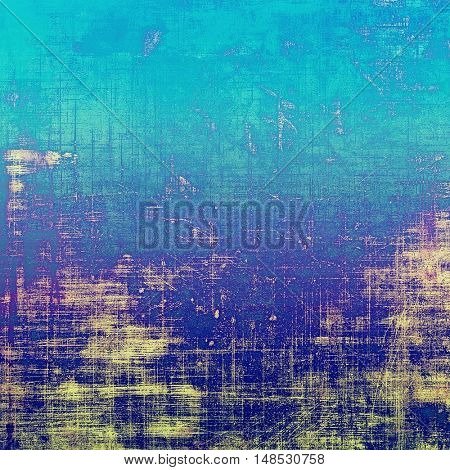 Grunge background with vintage style graphic elements, retro feeling composition and different color patterns: yellow (beige); blue; purple (violet); cyan
