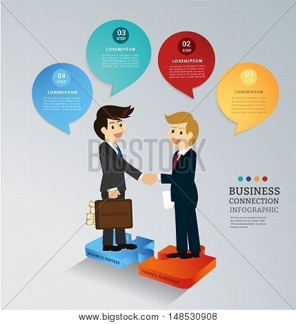 Business partnership investment with finance agreement on jigsaw connect . Can used for infographics and banners presentation, education,financial. Vector illustration business concept design.