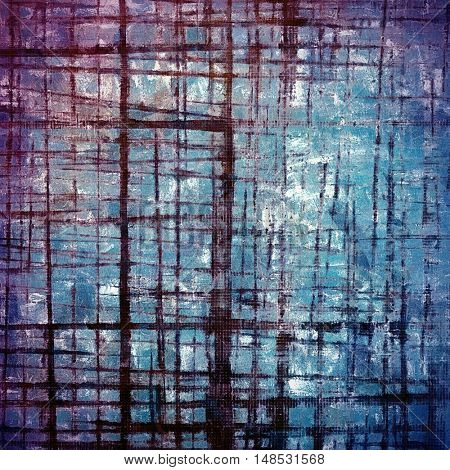 Highly detailed scratched texture, aged grungy background. Vintage style composition with different color patterns: blue; purple (violet); cyan; white; pink