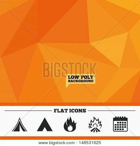Triangular low poly orange background. Tourist camping tent icons. Fire flame sign symbols. Calendar flat icon. Vector