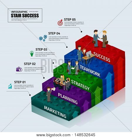 Toy blocks chart business step stair teamwork infographic concept.can used for presentation,data,diagram,chart and website design.vector illustration.
