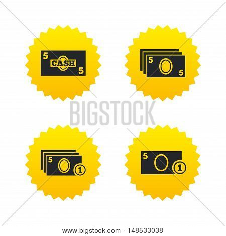 Businessman case icons. Currency with coins sign symbols. Yellow stars labels with flat icons. Vector