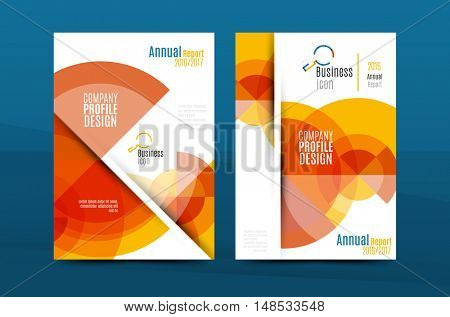Orange annual report A4 cover. Brochure template layout, magazine, flyer or booklet.
